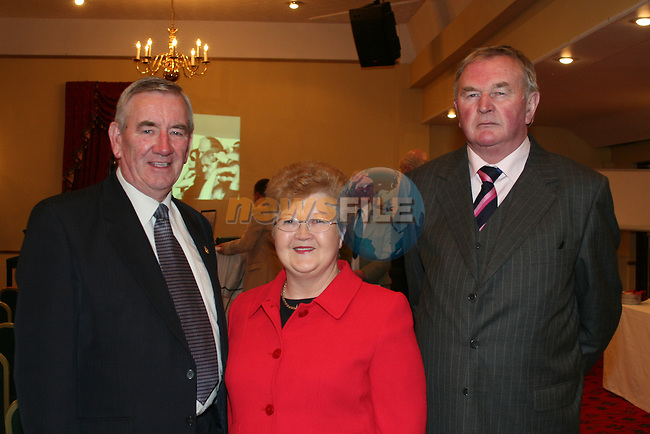 Cllr. Jimmy Cudden, Chairman of the Meath County Council, his wife Nan Cudden and Cllr. Patrick Boshell, Meath County Council at the launch of the Bellewstown Races in the Boyne Valley Hotel...Photo NEWSFILE/Jenny Matthews.(Photo credit should read Jenny Matthews/NEWSFILE)....This Picture has been sent you under the condtions enclosed by:.Newsfile Ltd..The Studio,.Millmount Abbey,.Drogheda,.Co Meath..Ireland..Tel: +353(0)41-9871240.Fax: +353(0)41-9871260.GSM: +353(0)86-2500958.email: pictures@newsfile.ie.www.newsfile.ie.FTP: 193.120.102.198.
