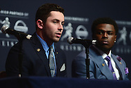 New York, NY - December 10, 2016: Oklahoma quarterback Baker Mayfield speaks to members of the media during a news conference for the Heisman Trophy finalists at the New York Marriott Marquis, December 10, 2016. (Photo by Don Baxter/Media Images International)