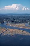 Washington State, Grays Harbor, North Bay, Grays Harbor County, river, estuary, managed forests, aerial, Washington Wildlife Recreation Program,  acquisition, Washington State, Department of Natural Resources, Natural Area, wetlands, from the air,.