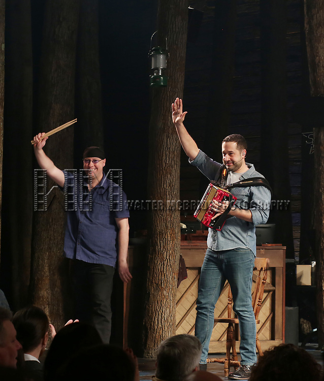 "Larry Lelli and Ian Eisenrath during the ""Come From Away"" Broadway Opening Night Curtain Call at the Gerald Schoenfeld Theatre on March 12, 2017 in New York City."