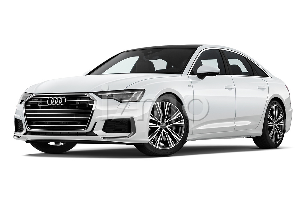 Stock pictures of low aggressive front three quarter view of 2019 Audi A6 S-Line 4 Door Sedan Low Aggressive