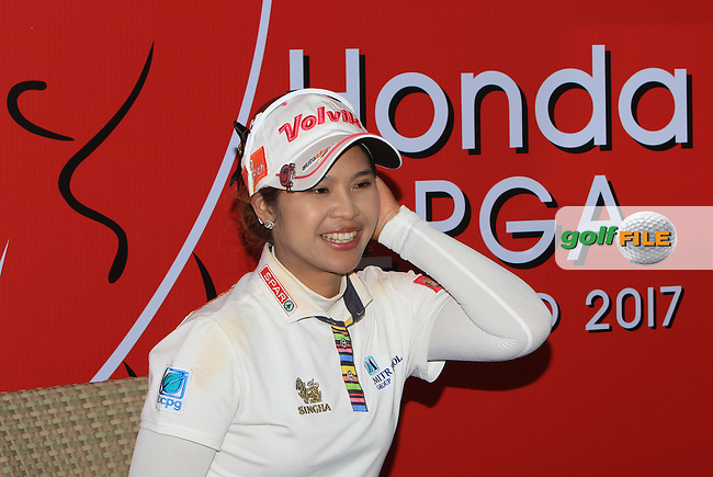 Pornanong Phatlum (THA) during an interview after Round 1 of the Honda LPGA Thailand on Thursday 23rd February 2017.<br /> Picture:  Thos Caffrey / Golffile