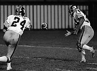 Wayne Mosley and quarterback Peter Liske 1975 BC Lions. Photo copyright Scott Grant.