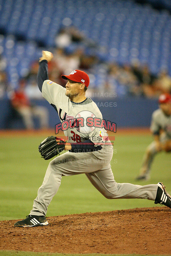 March 8, 2009:  Pitcher Joel Hanrahan (38) of Team USA during the first round of the World Baseball Classic at the Rogers Centre in Toronto, Ontario, Canada.  Team USA defeated Venezuela  15-6 to secure a spot in the second round of the tournament.  Photo by:  Mike Janes/Four Seam Images