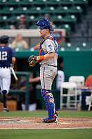 St. Lucie Mets catcher Dan Rizzie (7) during the second game of a doubleheader against the Lakeland Flying Tigers on June 10, 2017 at Joker Marchant Stadium in Lakeland, Florida.  Lakeland defeated St. Lucie 9-1.  (Mike Janes/Four Seam Images)