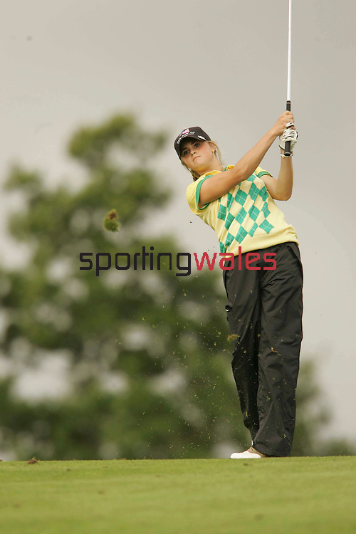 European team player Carly Booth plays her second at the 7th..Junior Ryder Cup.The Celtic Manor Resort.18.09.06.©Steve Pope.Steve Pope Photography.The Manor .Coldra Woods.Newport.South Wales.NP18 1HQ.07798 830089.01633 410450.steve@sportingwales.com