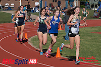 Lafayette's Sarah Nicholson runs to victory in the 3200 meters while Washington's Mikayla Reed was 2nd, and Marquette's Hannah Pierson and Danielle Morhmann 3rd and 4th at the 2016 MSHSAA Class 5 District 2 Track and Field Meet at Ladue High School, St. Louis, Saturday, May 14.