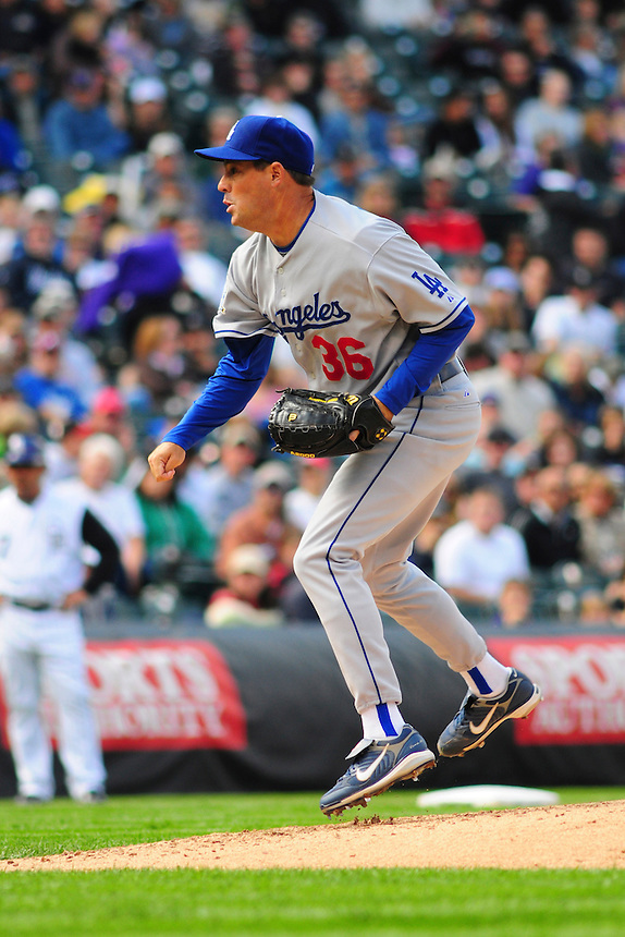 14 September 08: Los Angeles Dodgers pitcher Greg Maddux pitches against the Colorado Rockies. The Colorado Rockies defeated the Dodgers 1-0 in 10 innings at Coors Field in Denver, Colorado.