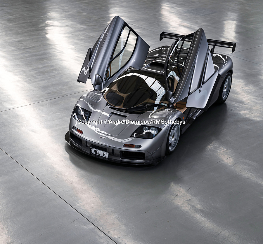 BNPS.co.uk (01202 558833)<br /> Pic: RMSothebys/BNPS<br /> <br /> Sold...for £16.3 million<br /> <br /> Super-rare F1 LM becomes the most expensive McLaren ever sold at auction.<br /> <br /> It is one of just two F1 road cars to be given the Le Mans specification by McLaren, after one won the famous 24hour race in 1995, making it one of the most desirable vehicles in the world.<br /> <br /> You do, however get an engine bay lined with 16g of pure gold (to dissipate the huge heat generated by the 6.1 ltr V12 engine)...and a full set of matching luggage for your money.<br /> <br /> The stunning motor was sold by auctioneers RM Sotheby's at their prestigious Monterey Auction over the weekend.