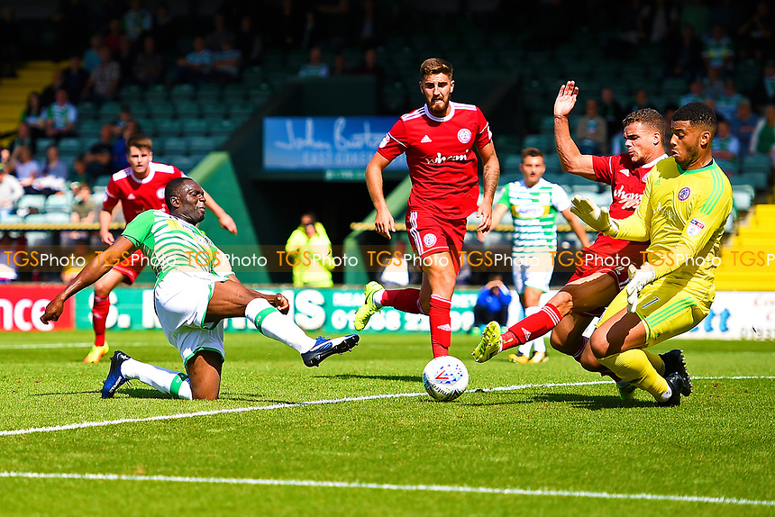 Francois Zoko of Yeovil Town fires past Accrington Stanley keeper Aaron Chapman  for the second goal during Yeovil Town vs Accrington Stanley, Sky Bet EFL League 2 Football at Huish Park on 12th August 2017