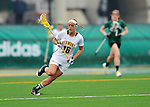 21 April 2012: University of Vermont Catamount midfielder Marcie Marino, a Sophomore from Londonderry, NH, in action against the Binghamton University Bearcats at Virtue Field in Burlington, Vermont. The Lady cats defeated the visiting Lady Bearcats 12-7. Mandatory Credit: Ed Wolfstein Photo