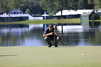Padraig Harrington (IRL) lines up his putt on the 14th green during Thursday's Round 1 of the 2017 PGA Championship held at Quail Hollow Golf Club, Charlotte, North Carolina, USA. 10th August 2017.<br /> Picture: Eoin Clarke | Golffile<br /> <br /> <br /> All photos usage must carry mandatory copyright credit (&copy; Golffile | Eoin Clarke)