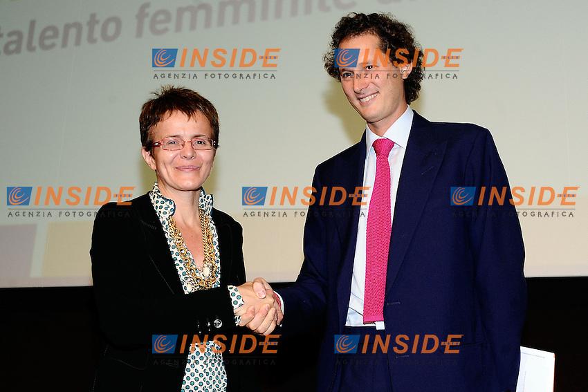 Elena Cattaneo, John Elkann <br /> Milano 26/09/2013 Museo della Scienza e della Tecnologia<br />  convegno 'Donne scienza e tecnologia un'opportunita' per l'Italia' <br /> foto Andrea Ninni/Image/Insidefoto