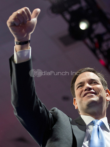 United States Senator Marco Rubio (Republican of Florida), a candidate for the Republican Party nomination for President of the United States, departs after speaking at the Conservative Political Action Conference (CPAC) at the Gaylord National Resort and Convention Center in National Harbor, Maryland on Saturday, March 5, 2016.<br /> Credit: Ron Sachs / CNP/MediaPunch