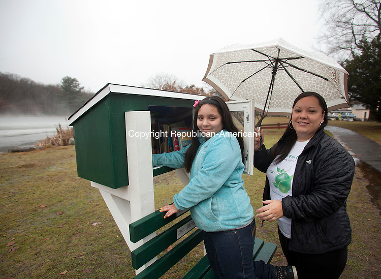 WATERBURY, CT-23 December 2013-122313BF02- Lili Negron, 12, and her mother Marisol Negron check on books in Lili's Little Free Library that they helped create in Fulton Park in Waterbury. Marisol's cousin Damian Irizarry, Sr. built the small library and bench for the project. The pair created the library with 700 donated books after reading about a similar project.     Bob Falcetti Republican-American