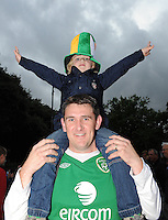 6th September 2013; Ireland supporter, Cillian Hill, aged 5, and his father, Stephen Hill from Donameade outside the Aviva Stadium before the match .2014 FIFA World Cup Qualifier, Group C,  Republic of Ireland v Sweden, Aviva Stadium, Dublin. Picture credit: Tommy Grealy/actionshots.ie.