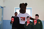 Danzel Ebose, Jake Wall and Michal Mazurick.students in St Josephs CBS with Jeff the ref part of the Show Racism the Red Card Workshop featuring Jeff the Ref.Picture: Fran Caffrey / www.newsfile.ie ..