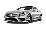 Stock pictures of low aggressive front three quarter view of a 2015 Mercedes Benz S-Class S550 2 Door Coupe Low Aggressive