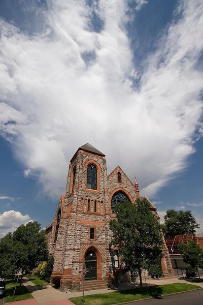 Church and thunderhead cloud, Denver, Colorado, USA John offers private photo tours of Denver, Boulder and Rocky Mountain National Park.