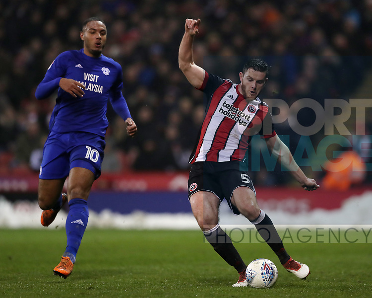 Jack O'Connell of Sheffield Utd during the Championship match at Bramall Lane Stadium, Sheffield. Picture date 02nd April, 2018. Picture credit should read: Simon Bellis/Sportimage