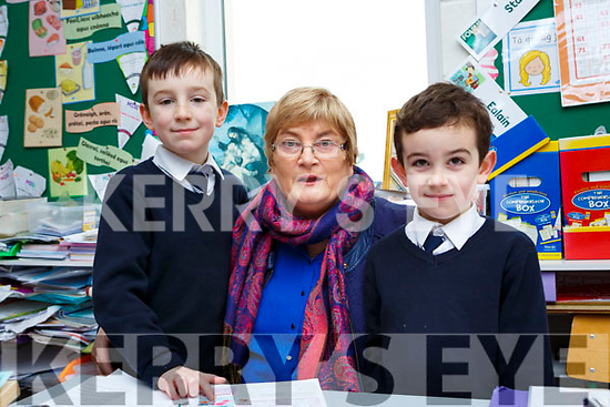 Nathan and Noah Griffin with their grandmother Katherine O'Connor in Fybough NS Castlemaine on Friday