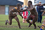 Vernon Comley  tries to find a gap in the Karaka defences as he heads back upfield late in the game. Counties Manukau Premier Club Rugby game between Patumahoe & Karaka played at Patumahoe on Saturday June 13th 2009. Patumahoe lead 8 - 0 at halftime and went on to win 20 - 0.