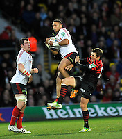 Watford, England. Simon Zebo of Munster wins a high ball during the Heineken Cup match between Saracens and Munster Rugby at the Vicarage Road on December 16, 2012 in Watford, England.