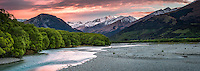 Dawn twilight at Rees River with Richardson Mountains in background, Mt. Aspiring National Park, Central Otago, South Island, New Zealand