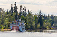 Historic Riverboat Discovery takes tourist down the Chena River in Interior Alaska's golden heart city of Fairbanks, Alaska