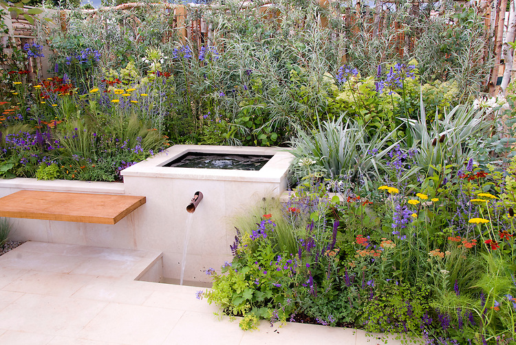 Exceptional Mixing Garden Styles: Water Garden Feature In Silver And Blue Color Theme  Garden, Patio