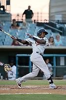 Henry Castillo (24) of the Visalia Rawhide bats against the Lancaster JetHawks at The Hanger on August 9, 2017 in Lancaster, California. Lancaster defeated Visalia, 7-4. (Larry Goren/Four Seam Images)