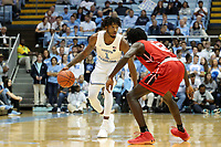 CHAPEL HILL, NC - NOVEMBER 01: Rechon Leaky Black #1 of the University of North Carolina dribbles the ball during a game between Winston-Salem State University and University of North Carolina at Dean E. Smith Center on November 01, 2019 in Chapel Hill, North Carolina.
