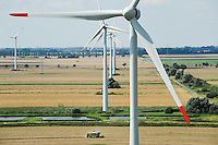 Deutschland , Getreideernte und Vensys Windkraftanlage in einem Windpark in Steinburg bei Glueckstadt | GERMANY grain harvest and windfarm with Vensys wind turbine infront