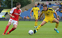 Fleetwood Town's Bobby Grant takes on Oxford United's Josh Ruffels<br /> <br /> Photographer David Shipman/CameraSport<br /> <br /> The EFL Sky Bet League One - Oxford United v Fleetwood Town - Saturday August 11th 2018 - Kassam Stadium - Oxford<br /> <br /> World Copyright &copy; 2018 CameraSport. All rights reserved. 43 Linden Ave. Countesthorpe. Leicester. England. LE8 5PG - Tel: +44 (0) 116 277 4147 - admin@camerasport.com - www.camerasport.com