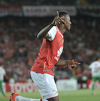 BOGOTA- COLOMBIA – 11-02-2016: Yerry Mina  jugador del Independiente Santa Fe de Colombia, celebra el gol anotado Oriente Petrolero de Bolivia, durante partido de vuelta entre Independiente Santa Fe de Colombia y Oriente Petrolero de Bolivia, por la primera fase de la Copa Bridgestone Libertadores en el estadio Nemesio Camacho El Campin, de la ciudad de Bogota. / Yerry Mina player of Independiente Santa Fe of Colombia, celebrates a scored goal to Oriente Petrolero of Bolivia during a match for the second leg between Independiente Santa Fe of Colombia and Oriente Petrolero of Bolivia for the first phase, of the Copa Bridgestone Libertadores in the Nemesio Camacho El Campin in Bogota city.VizzorImage / Luis Ramirez / Staff