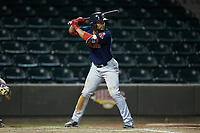 Tyler Hill (24) of the Salem Red Sox at bat against the Winston-Salem Dash at BB&T Ballpark on April 20, 2018 in Winston-Salem, North Carolina.  The Red Sox defeated the Dash 10-3.  (Brian Westerholt/Four Seam Images)