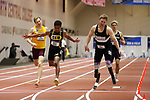 NAPERVILLE, IL - MARCH 11:  Marquis Brown of Texas Lutheran and A.J. Digby of Mount Union fight for first place in the men's 60 meter dash during Division III Men's and Women's Indoor Track and Field Championship held at the Res/Rec Center on the North Central College campus on March 11, 2017 in Naperville, Illinois. (Photo by Steve Woltmann/NCAA Photos via Getty Images)
