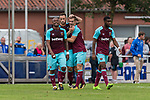 29.07.2017, Heinz-Dettmer-Stadion, Lohne, GER, FSP, SV Werder Bremen vs West Ham United<br /> <br /> im Bild<br /> Tony Martinez (West Ham #29) bejubelt seinen Treffer zum 1:2 / Tony Martinez (West Ham #29) celebrates after scoring with teammates, Marko Arnautovic (West Ham #18), Andr&eacute; / Andre Ayew (West Ham #20), <br /> <br /> Foto &copy; nordphoto / Ewert