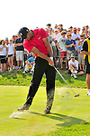 30 August 2009: Tiger Woods tees off during the final round of The Barclays PGA Playoffs at Liberty National Golf Course in Jersey City, New Jersey.