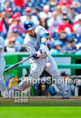 25 April 2010: Los Angeles Dodgers' catcher Russell Martin at bat against the Washington Nationals at Nationals Park in Washington, DC. The Nationals shut out the Dodgers 1-0 to take the rubber match of their 3-game series. Mandatory Credit: Ed Wolfstein Photo