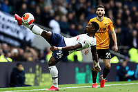 1st March 2020; Tottenham Hotspur Stadium, London, England; English Premier League Football, Tottenham Hotspur versus Wolverhampton Wanderers; Serge Aurier of Tottenham Hotspur keeps the ball in play