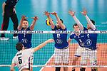 24.02.2019, SAP Arena, Mannheim<br /> Volleyball, DVV-Pokal Finale, VfB Friedrichshafen vs. SVG LŸneburg / Lueneburg<br /> <br /> Angriff Cody Kessel (#5 Lueneburg) - Block  / Dreierblock Bartlomiej Boladz (#1 Friedrichshafen), Jakob GŸnthšr / Guenthoer (#12 Friedrichshafen), David Sossenheimer (#5 Friedrichshafen)<br /> <br />   Foto © nordphoto / Kurth
