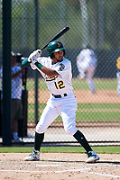 Oakland Athletics shortstop Yerdel Vargas (12) at bat during an Instructional League game against the Cincinnati Reds on September 29, 2017 at Lew Wolff Training Complex in Mesa, Arizona. (Zachary Lucy/Four Seam Images)