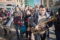 The people during the parade people No Tav and No Expo, on February 22, 2014. Milan. Photo: Adamo Di Loreto/BuenaVista*photo