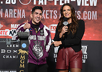 LAS VEGAS - NOVEMBER 22:  Leo Santa Cruz and Heidi Androl attend the weigh in for the November 23 fight on the Fox Sports PBC Pay-Per-View Fight Night on November 22, 2019 in. Las Vegas, Nevada. (Photo by Scott Kirkland/Fox Sports/PictureGroup)