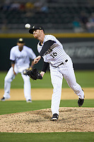 Charlotte Knights relief pitcher Aaron Bummer (16) delivers a pitch to the plate against the Toledo Mud Hens at BB&T BallPark on April 23, 2019 in Charlotte, North Carolina. The Knights defeated the Mud Hens 11-9 in 10 innings. (Brian Westerholt/Four Seam Images)