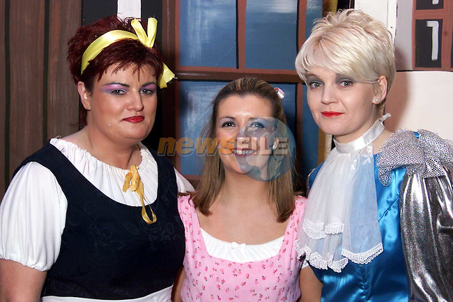 Elaine O'Brien (Nancy), Melanie Bell (Lucy) and Fiona O'Connell (prince) in Drogheda Pantomime Society's production of Beauty and the Beast..Picture: Paul Mohan/Newsfile