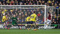 John-Joe O'Toole (right)  of Northampton Town shot at goal hits the crossbar during the Sky Bet League 2 match between Oxford United and Northampton Town at the Kassam Stadium, Oxford, England on 16 February 2016. Photo by Andy Rowland.