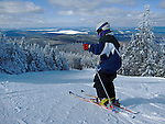 Alpine skiing at Saddleback Mountain in Sandy River Plantation, Maine, USA