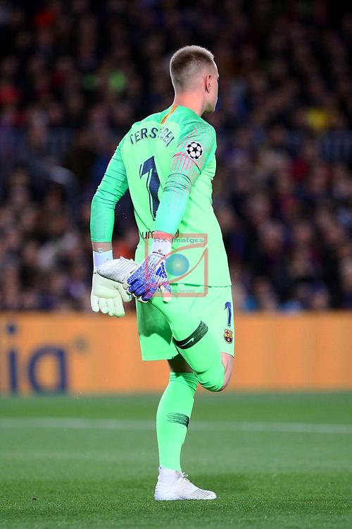 UEFA Champions League 2018/2019.<br /> Quarter-finals 2nd leg.<br /> FC Barcelona vs Manchester United: 3-0.<br /> Marc-Andre ter Stegen.